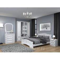 Модульный спальный гарнитур «Лакированный» Белый жемчуг