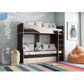 Кровать двухъярусная «Мийа (А)». Венге – Дуб Молочный
