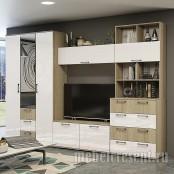Модульная гостиная «Белладжио» Дуб Сонома – Белый глянец. Композиция №2