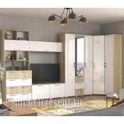 Модульная гостиная «Белладжио» Дуб Сонома – Белый глянец. Композиция №1