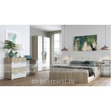 Модульный спальный гарнитур «Белладжио» Дуб Сонома – Белый глянец