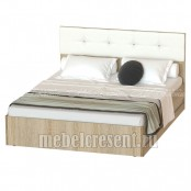 Кровать 1600 «Белладжио КР-05» Дуб Сонома – Белый глянец
