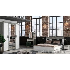 Модульный спальный гарнитур «Инстайл» Белый глянец – Метрополитан грей