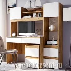 Модульный стол компьютерный «Селфи» Дуб Крафт – Белый глянец
