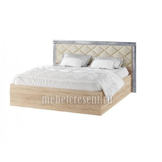 Кровать 1600 с ортопедическим основанием «Мадлен» Дуб шале серебро