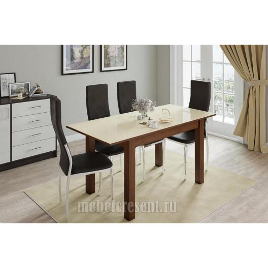 Стол обеденный раскладной 1100х700 «Бруно» Орех шоколадный - Лакобель Ваниль