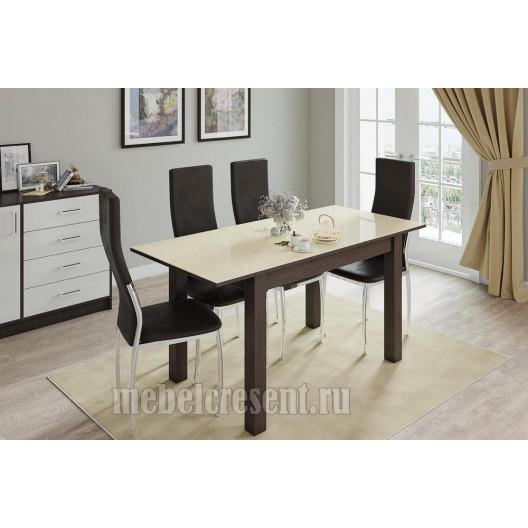 Стол обеденный раскладной 1000х600 «Бруно» Венге - Лакобель Ваниль