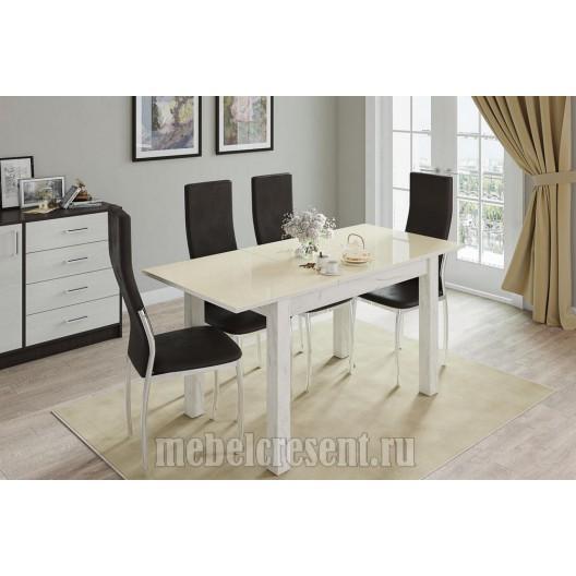 Стол обеденный раскладной 1200х800 «Бруно» Дуб Крафт Белый - Лакобель Ваниль