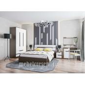 Модульный спальный гарнитур «Гавана» Венге - Акрил белый. Композиция №1