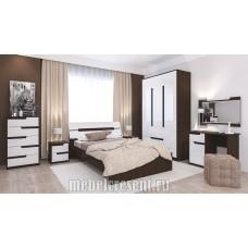 Модульный спальный гарнитур «Гавана» Венге - Акрил белый. Композиция №2