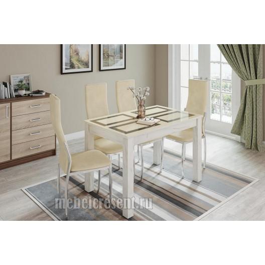 Стол обеденный 1000х600 «Норман» Дуб Крафт Белый - Плитка