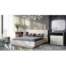 Модульный спальный гарнитур «Кимберли» Ясень белый – Белый глянец. Композиция №1