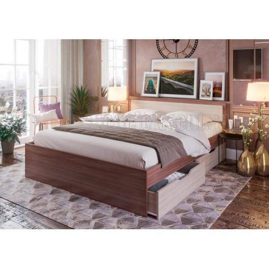 Кровать 0.9 с ящиками «Гармония КР 608». Шимо светлый - Шимо тёмный