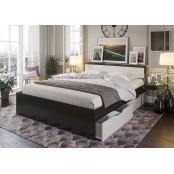 Кровать 1400 с ящиками «Гармония КР 605». Венге - Дуб Белфорт