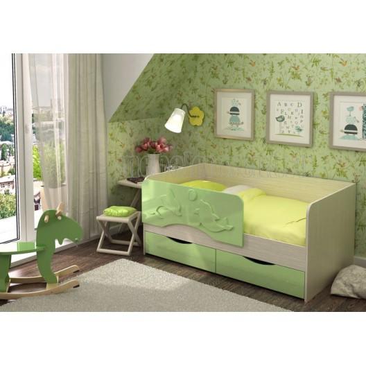 Кровать детская 1.6 «Алиса» КР-812 Дуб Белфорт - Зеленый металлик