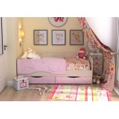 Кровать детская 1.6 «Алиса» КР-812 Дуб Белфорт - Розовый металлик