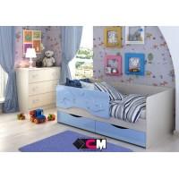 Кровать детская 1.4 «Алиса» КР-811 Дуб Белфорт - Голубой металлик