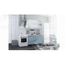 Кухонный гарнитур 1,5м «Бьянка» Белый – Голубые блёстки