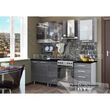 Кухонный гарнитур 1,6м «Лондон» Чёрный мрамор Серый – Титан чёрный