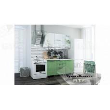 Кухонный гарнитур 1,5м «Бьянка» Белый – Салатовые блёстки