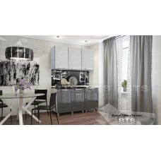 Кухонный гарнитур 1,5м «Титан» Серый – Титан белый / Титан чёрный