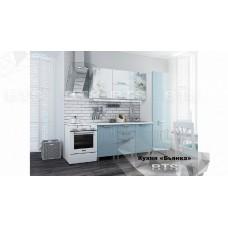 Кухонный гарнитур 2,1м «Бьянка» Белый – Голубые блёстки