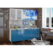 Кухонный гарнитур 2м «Люкс Лазурь» Серый – Лазурное небо