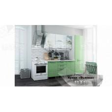 Кухонный гарнитур 2,1м «Бьянка» Белый – Салатовые блёстки