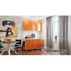 Кухонный гарнитур 1,5м «Блёстки Оранж» Серый – Блёстки Оранж