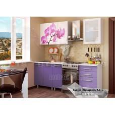 Кухонный гарнитур 1,6м «Орхидея» Серый – Фиолетовый глянец